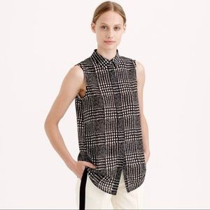 J. Crew Sleeveless Blouse in Graphic Plaid
